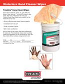 Chemicals: Waterless Hand Cleaner Wipes